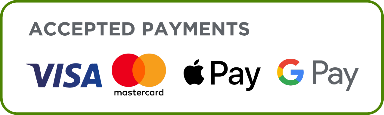 We accept the following payment methods; Visa, Mastercard, Apple Pay, G Pay