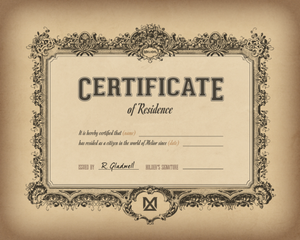 Resident of Melior Certificate (Digital Download)