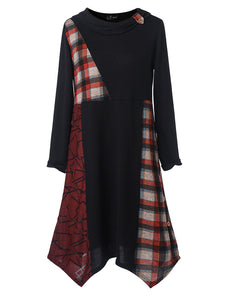 Button Print Plaid Patchwork Asymmetrical Plus Size Blouse