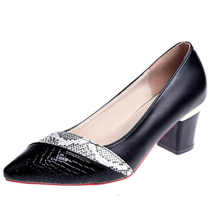 BONJOMARISA New Unique Patchwork Fretwork Elegant Pointed Toe Shallow Pumps Women High Heels Ol Shoes Woman