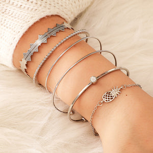 2020 New Trendy Geometric Leaves Are Empty Pineapples 6PCS Bracelets Bangles for Women Party Gift Jewelry Bulk Sell Moonso S5745