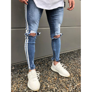 Men's Skinny Stretch Ripped Jeans HipHop Distressed Skinny Slim Fit Jean Pants Damaged Denim Pants Street ropa de hombre jeans