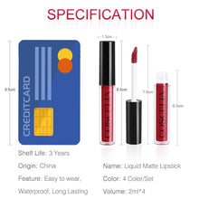 Load image into Gallery viewer, COSCELIA Matte Lipstick Velvet Sexy Lip gloss Set Cosmetic Lip Tint lip gloss Waterproof 4pcs lipstick for lips Moisturizer