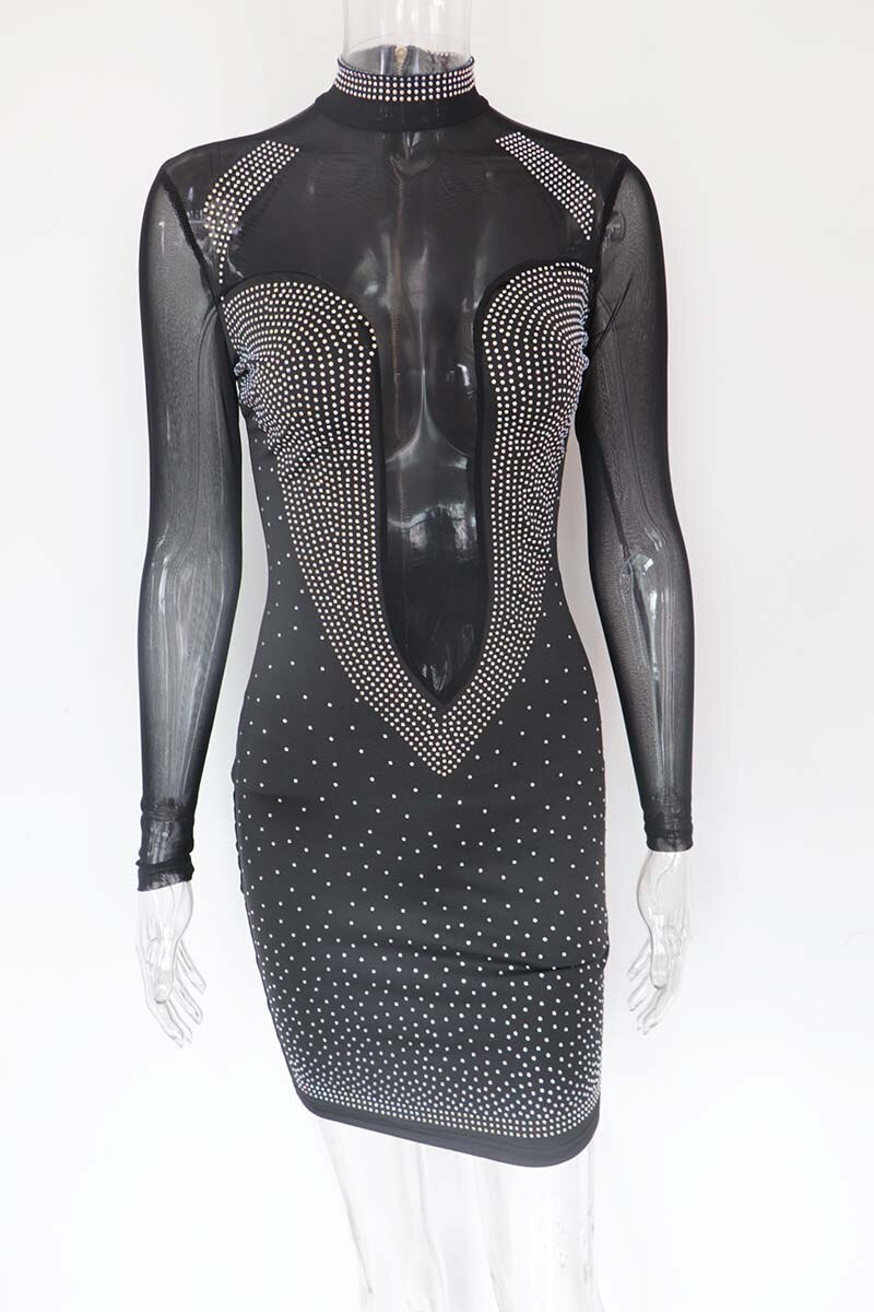 Kricesseen Sexy Black Hot Drilling See through Mini Dress Women White Long Sleeve Mesh Rhinestone Bodycon Club Party Dresses