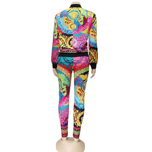 Kricesseen Casual Print Two pieces Pant Set Hot New Women Zipper Jacket And Long Pants Suits 2 Piece Outfits Matching Sets