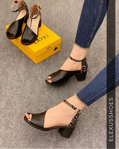Elexus women Sandals 2025 Madrid 2020 New open toe comfortable luxury with Snake leather detailed non-leather Women 5 cm heels