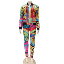 Load image into Gallery viewer, Kricesseen Casual Print Two pieces Pant Set Hot New Women Zipper Jacket And Long Pants Suits 2 Piece Outfits Matching Sets