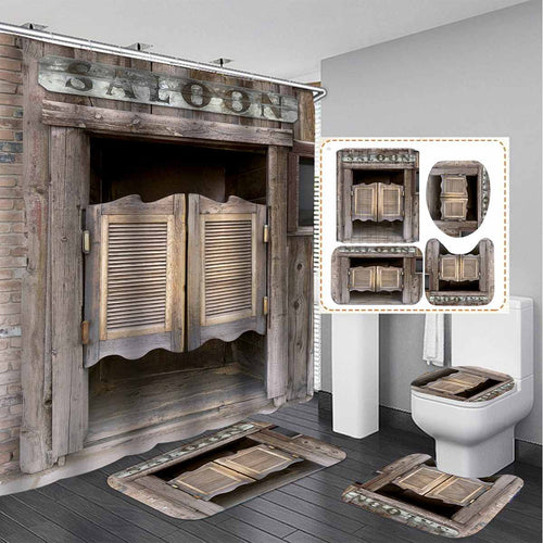 3D Rustic Vintage Old Wooden Door Waterproof Bath Shower Curtain Anti Slip Bathroom Rugs Set Kitchen Bath Mat Toilet Cover