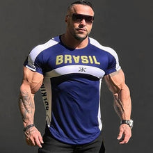Load image into Gallery viewer, Fashion New Fitness Mens t-shirt Bodybuilding Workout Gyms joggers Quick-Drying Casual Stitching Tees Tops Summer clothing