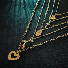 Load image into Gallery viewer, 2020 new trendy rose gold color Cross palm rose love pendant combination necklace for women party gift jewelry bulk sell X5740