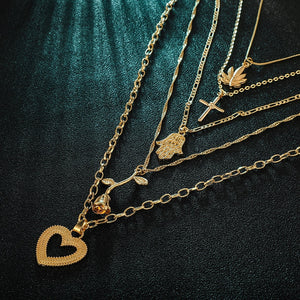 2020 new trendy rose gold color Cross palm rose love pendant combination necklace for women party gift jewelry bulk sell X5740