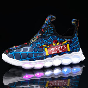 2020 led shoes kids shoes girls children boys light up luminous sneakers glowing illuminated Spiderman lighted lighting princess