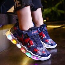 Load image into Gallery viewer, 2020 led shoes kids shoes girls children boys light up luminous sneakers glowing illuminated Spiderman lighted lighting princess
