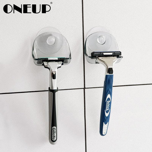 ONEUP Suction Cup Razor Rack Razor Holder Suction Cup Shaver Storage Rack Wall Hook Hangers Towel Home Bathroom Accessories Set