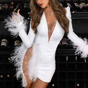 Kricesseen Sexy Feather Trim Mesh Patchwork Mini Dress New Spring Women Deep V Neck Bodycon Chirstmas Party Club Dress Vestidos