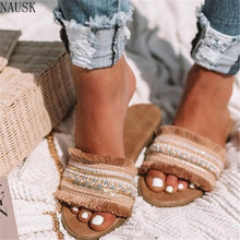 Load image into Gallery viewer, Women Slippers 2019 Summer New Rome Retro Sandals Flat Casual Shoes Female Slip on Slides Woman Shoes Plus Size Sandalias Mujer