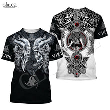 Load image into Gallery viewer, Nordic Viking Tattoo Skull T Shirt Women Men Pirates 3D Print Cosplay T-shirts Vikings King Short Sleeve Casual Streetwear Tops