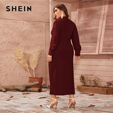 Load image into Gallery viewer, SHEIN Plus Size Burgundy Button Front Shawl Collar Lantern Sleeve Dress Women Spring Plus High Waist Elegant Fitted Maxi Dresses