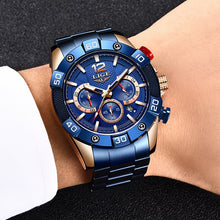 Load image into Gallery viewer, LIGE 2020 New Fashion Blue Mens Watches Top Brand Luxury Clock Sports Chronograph Waterproof Quartz Watch Men Relogio Masculino