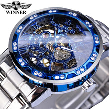 Load image into Gallery viewer, Winner Golden Watches Classic Rhinestone Clock Roman Analog Male Skeleton Clocks Automatic Mechanical Stainless Steel Band Watch