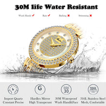 Load image into Gallery viewer, MISSFOX Women's Watches Fashion Luxury Brand Full Lab Diamond Gold Women's Wristwatch Bling Casual Ladies Quartz Watch Clock New