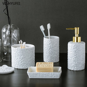 Fine embossed pattern home hotel bathroom supplies simple white ceramic bathroom kit cotton swab box mouth cup soap bottle set