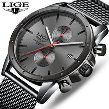 Load image into Gallery viewer, 2020 Fashion Mens Watches Top Brand LIGE Business Watch Men Chronograph Stainless Steel Waterproof Analog Quartz Wristwatch Male