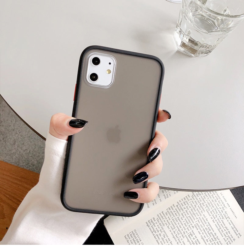 Mint Hybrid Simple Matte Bumper Phone Case For iPhone 11 Pro Max XR XS Max 6S 8 7 Plus Shockproof Soft TPU Silicone Clear Cover