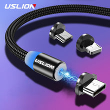 Load image into Gallery viewer, USLION 2M Fast Charging Magnetic Cable Micro USB Type C Charger For iPhone XS X 8 7 Samsung S10 9 Magnet Android Phone Cable 3M