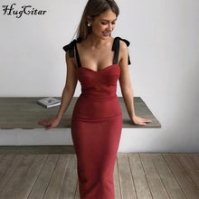 Load image into Gallery viewer, Hugcitar 2020 patchwork sleeveless bandage bodycon midi dress spring summer women party elegant outfits streetwear