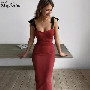 Hugcitar 2020 patchwork sleeveless bandage bodycon midi dress spring summer women party elegant outfits streetwear
