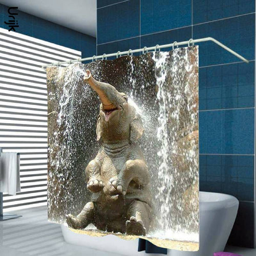 3D Elephant Water Shower Curtain With Hooks For Bathroom Home Decoration Thickening Waterproof Polyester Curtains