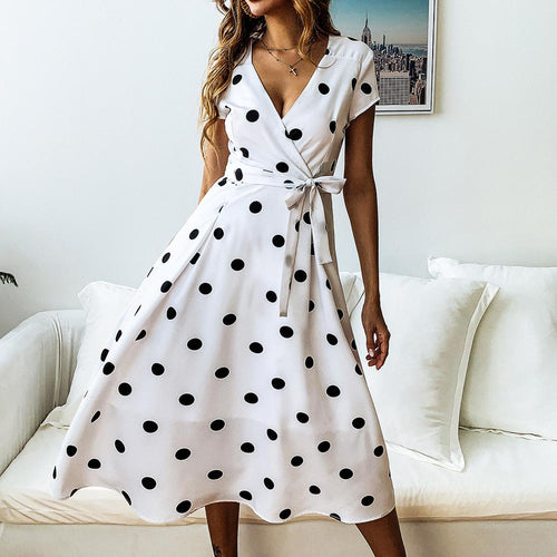 women summer dress fashion casual V-neck printed polka dot lace dress women beach sexy 2020 new party ladies plus size dress