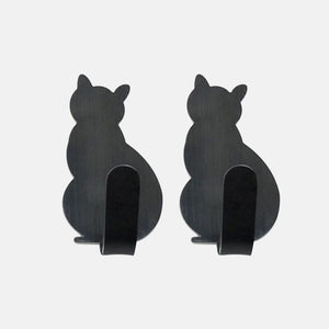 2pcs Self Adhesive Hooks Cat Pattern Storage Holder Clothes Towel For Bathroom Kitchen Hanger Stick on Wall Hanging Door Racks