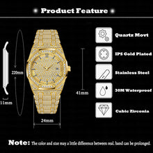 Load image into Gallery viewer, 18K Gold Watch Men Luxury Brand Diamond Mens Watches Top Brand Luxury FF Iced Out Male Quartz Watch Calender Unique Gift For Men