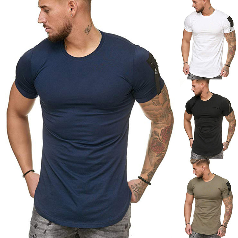 Blank Cotton Breathable Running T-Shirts Dry Fit Compression Training Wear Fitness Gym Men T Shirt