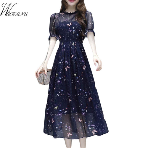 Chiffon 2 piece suit dress Plus Size Floral print Sexy Dress 2019 Summer Women Eleganr Casual Evening Party Dress Vestidos Mujer