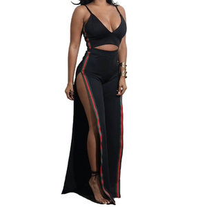 Hot Sale Women Dress Sexy Black Two Pieces Sets Fashion Summer Split Dress