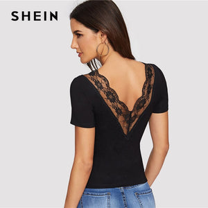 SHEIN Sexy Double V Neck and Back Scallop Lace Trim Form Fitting T Shirt Women Summer Short Sleeve Slim Sheer Tshirt Tops