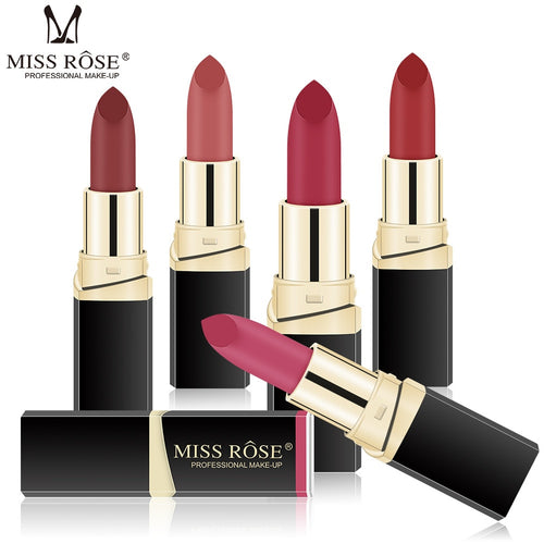 MISS ROSE Lipstick Matte Waterproof Make Up Long Lasting Lip Stick 42 Colors Easy To Wear Lipstick  Lips Makeup  Mate Lipstick