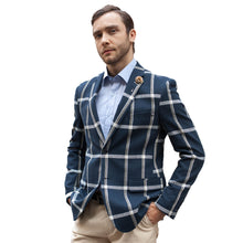 Load image into Gallery viewer, Order high quality one button plaid men blazer stylish