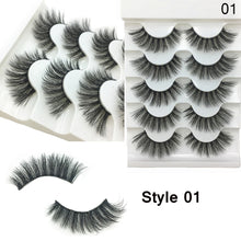 Load image into Gallery viewer, 5 Pairs 2 Styles 3D Faux Mink Hair Soft False Eyelashes Fluffy Wispy Thick Lashes Handmade Soft Eye Makeup Extension Tools