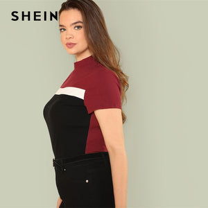 SHEIN Multicolor Plus Size Color Block Rib Knit Fitted Stand Collar Stretchy Tee 2019 Summer Women Short Sleeve Casual T Shirts