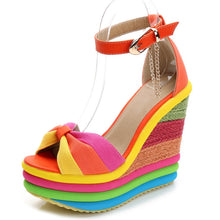 Load image into Gallery viewer, INS hot sale colorful Leisure Women Wedges Shoes 2019 Summer Sandals Elegant Party Platform High Heels Shoes Woman