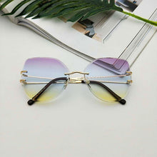 Load image into Gallery viewer, Oversized Rimless Cat Eye Sunglasses Fashion Gradient Brown Cut Lens Shades For Women Metal Clear Sunglasses 2019 Luxury
