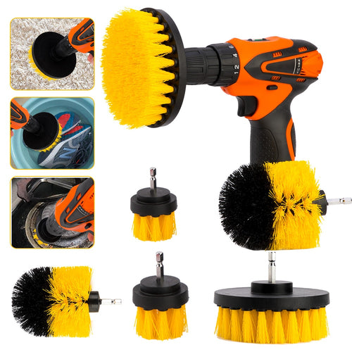 3pcs/Set Power Drill Brush 1/4 Brushs Clean For Bathroom Kitchen Tile Grout Cordless Scrub Cleaning Kit Power Tools Accessories