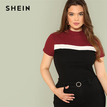 Load image into Gallery viewer, SHEIN Multicolor Plus Size Color Block Rib Knit Fitted Stand Collar Stretchy Tee 2019 Summer Women Short Sleeve Casual T Shirts