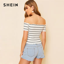 Load image into Gallery viewer, SHEIN Off Shoulder Striped Fitted Crop Top White Cap Sleeve Summer T Shirt Fabulous Style Women Summer Slim Fit 2019 Tees