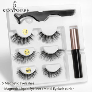 Magnetic Eyelashes Eyeliner Eyelash Curler Set5 Magnet Natural Long Magnetic False Eyelashes With Magnetic Eyeliner SEXYSHEEP