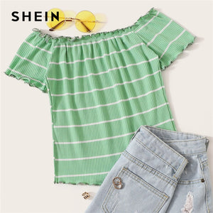 SHEIN Off Shoulder Striped Fitted Crop Top White Cap Sleeve Summer T Shirt Fabulous Style Women Summer Slim Fit 2019 Tees